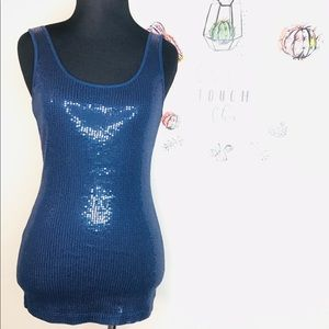 EXPRESS SEQUIN TOP STRETCH NWOT COLOR:BLUE SIZE: S